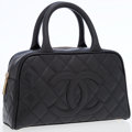 Luxury Accessories:Bags, Chanel Black Caviar Leather Bowling Bag with CC Logo. ...