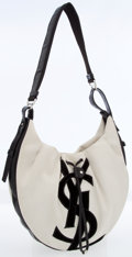 Luxury Accessories:Bags, Yves Saint Laurent White Canvas Hobo Bag. ...