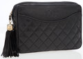 Luxury Accessories:Bags, Chanel Black Lambskin Leather Clutch with Gold Tassel. ...