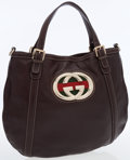 Luxury Accessories:Bags, Gucci Classic Brown Leather Large Britt Tote Bag. ...