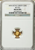 California Fractional Gold, 1870 50C Liberty Octagonal 50 Cents, BG-922, R.3, MS64 DeepProoflike NGC....