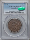 Large Cents, 1820 1C Large Date MS64 Brown PCGS. CAC. N-13, R.1....