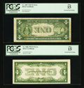 Error Notes:Inverted Reverses, Fr. 1606 $1 1934 Inverted Reverse Silver Certificate. PCGS Fine 15.Fr. 1607 $1 1935 Inverted Reverse Silver Certificate. ... (Total: 2notes)