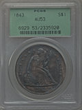 Seated Dollars, 1843 $1 AU53 PCGS....