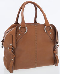 Tod's Brown Leather Bag with Buckles and Silver Hardware