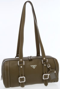 Prada Olive Green Leather Shoulder Bag with Silver Hardware