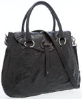Luxury Accessories:Bags, Henry Beguelin Black Patent Leather Bag with Antiqued SilverHardware. ...