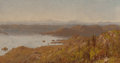 Fine Art - Painting, American:Antique  (Pre 1900), SANFORD ROBINSON GIFFORD (American, 1823-1880). Lake George fromBuck Mountain. Oil on canvas. 4-1/2 x 8-1/2 inches (11....