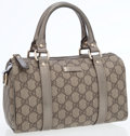 Luxury Accessories:Bags, Gucci Gray Monogram Coated Canvas Top Handle Bag with MetallicLeather Accents. ...