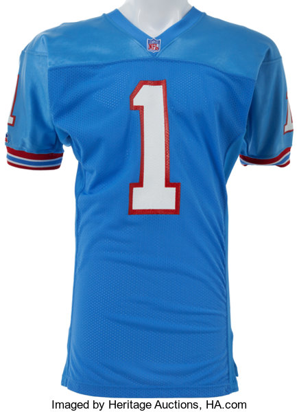 d7970ae7c94 Football Collectibles:Uniforms, 1992 Warren Moon Game Worn, Signed Houston  Oilers Jersey.