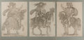 Art:Illustration Art - Mainstream, [Illustration]. Group of Three Prints of Mounted Figures. N.d.Mounted. Measures 19.75 x 13.75 inches with mat. Mild toning....