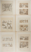 Art:Illustration Art - Mainstream, [Illustration]. Group of Six Lithographs. N.d. Measures 16 X 11.25inches. Previously bound in Angleterre. M...