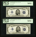Small Size:Silver Certificates, Fr. 1654* $5 1934D Narrow Silver Certificates. Two Consecutive Examples. PCGS Choice About New 58PPQ.. ... (Total: 2 notes)