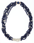 Estate Jewelry:Necklaces, Sodalite, Lapis Lazuli, Freshwater Cultured Pearl, Gold Necklace....