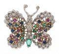 Estate Jewelry:Brooches - Pins, Multi-Stone, Diamond, Gold Butterfly Brooch. ...