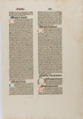 Books:Illuminated Manuscripts, [Illumination]. Hand Pressed Page In Latin With Hand Illuminated details. N.d. Measures 16 x 11 inches, loosely. No gilt. Ed...