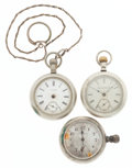 Timepieces:Pocket (post 1900), Three 18 Size Pocket Watches for Repair Or Parts. ... (Total: 3Items)