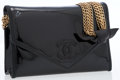 Luxury Accessories:Bags, Chanel Black Patent Leather Flap Bag with Multi-Strand Gold ChainStrap. ...