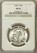 Walking Liberty Half Dollars: , 1942-D 50C MS65 NGC. NGC Census: (1532/1002). PCGS Population(2795/1252). Mintage: 10,973,800. Numismedia Wsl. Price for p...