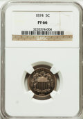 Proof Shield Nickels: , 1874 5C PR66 NGC. NGC Census: (43/6). PCGS Population (45/7).Mintage: 700. Numismedia Wsl. Price for problem free NGC/PCGS...