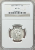 Coins of Hawaii: , 1883 25C Hawaii Quarter MS62 NGC. NGC Census: (140/685). PCGSPopulation (181/885). Mintage: 500,000. ...