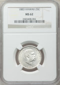 Coins of Hawaii: , 1883 25C Hawaii Quarter MS62 NGC. NGC Census: (138/679). PCGSPopulation (181/885). Mintage: 500,000. ...