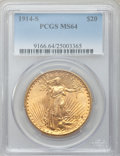 Saint-Gaudens Double Eagles: , 1914-S $20 MS64 PCGS. PCGS Population (5190/2044). NGC Census:(5842/1489). Mintage: 1,498,000. Numismedia Wsl. Price for p...