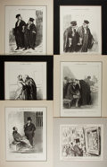 Art:Illustration Art - Mainstream, [Illustration]. Group of Six French Prints. N.d. Plates tipped inand matted. Most measure 15 x 12 inches, including mat. Li...