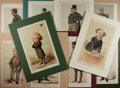 Art:Illustration Art - Mainstream, [Chromolithographs]. Group of Ten Vanity Fair: Men of the Day Caricatures. 1870-1903. Tipped in and matted. Meas...