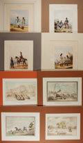 Art:Illustration Art - Mainstream, [Lithographs]. Group of Eight. N.d. Features Thomas Rowlandsonchromolithographs and hand tinted military themed lithograp...