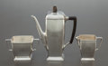 Silver Holloware, American:Coffee Pots, A THREE PIECE TIFFANY & CO. SILVER AND WOOD COFFEE SERVICE .Tiffany & Co., New York, New York, circa 1929-1947. Marks toco... (Total: 3 Items)