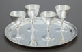 Silver Holloware, American:Wine Goblet, A SET OF FOUR TIFFANY & CO. SILVER WINE GOBLETS AND TRAY.Tiffany & Co., New York, New York, circa 1915-1947. Marks togoble... (Total: 5 )