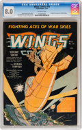 Golden Age (1938-1955):War, Wings Comics #16 (Fiction House, 1941) CGC VF 8.0 Off-whitepages....