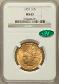 Indian Eagles: , 1932 $10 MS63 NGC. CAC. NGC Census: (23286/13740). PCGS Population(18324/10187). Mintage: 4,463,000. Numismedia Wsl. Price...