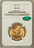 Indian Eagles: , 1932 $10 MS64 NGC. CAC. NGC Census: (11185/2555). PCGS Population(8937/1250). Mintage: 4,463,000. Numismedia Wsl. Price fo...