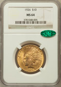 Indian Eagles: , 1926 $10 MS64 NGC. CAC. NGC Census: (4265/734). PCGS Population(3259/371). Mintage: 1,014,000. Numismedia Wsl. Price for p...