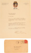 Autographs:Letters, 1922 Charles Comiskey Signed Letter....
