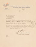 Autographs:Letters, 1948 Branch Rickey Signed Contract Cover Letter to Gil Hodges....