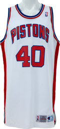 Basketball Collectibles:Uniforms, 1993-94 Bill Laimbeer Game Worn Detroit Pistons Jersey....