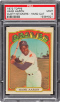 Baseball Cards:Singles (1970-Now), 1972 Topps Test Cloth Sticker Hank Aaron PSA Mint 9 - Pop One, Two Higher. ...