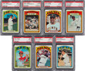 Baseball Cards:Lots, 1972 Topps Baseball Hall of Famers PSA Mint 9 Collection (7). ...