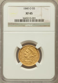 Liberty Half Eagles: , 1840-O $5 Narrow Mill XF45 NGC. NGC Census: (24/98). PCGSPopulation (23/44). Mintage: 40,120. Numismedia Wsl. Price forpr...