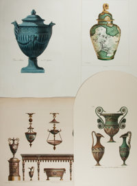 [Engravings]. Group of Four Engraved Plates Featuring Classical Vases and Urns. Various dates. One trimmed significan