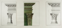 [Engravings]. P. Fourdrinier. Group of Three Engraved Prints Featuring Decorative Columns. N.d. Measures 17 x 22 inch