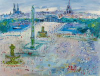JEAN DUFY (French, 1888-1964) Place de la Concorde, circa 1955 Oil on canvas 19-7/8 x 25-5/8 inch