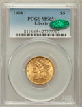 Liberty Half Eagles, 1908 $5 MS65+ PCGS. CAC. PCGS Population (195/40). NGC Census:(265/55). Mintage: 421,874. Numismedia Wsl. Price for proble...