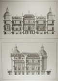 Art:Illustration Art - Mainstream, [Engraving]. Pierre Fourdrinier. Engraver. Isaac Ware. Architect.Section of the East Front. Houghton Hall. N.d....