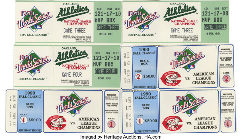 1990 World Series Ticket Stubs Lot Of 6 The 1990 World