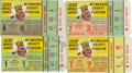 Baseball Collectibles:Tickets, 1958 World Series Ticket Stub Lot of 4. Lot of four ticket stubsfrom the 1958 World Series. These tickets are for the Milw...