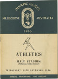 Miscellaneous Collectibles:General, 1956 Olympic Games Program. High-quality official program for the 1956 Summer Olympic Games held in Melbourne, Australia, d...